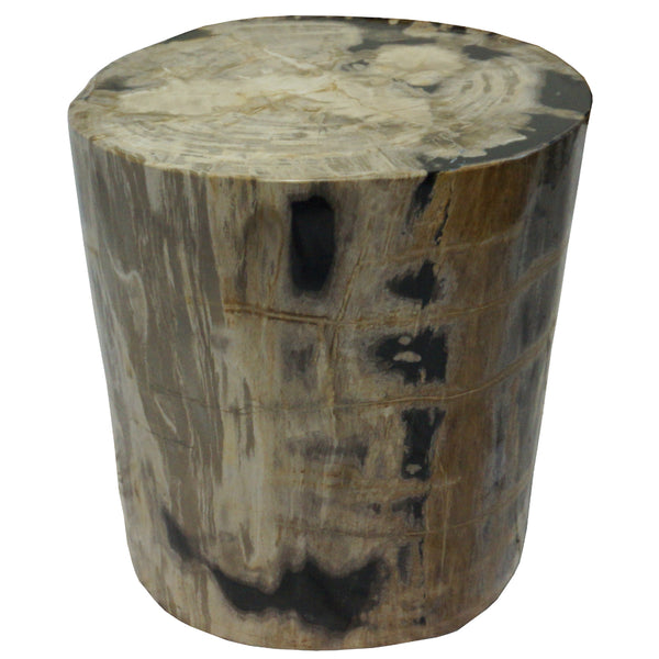 polished round petrified wood stool side table