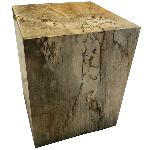Polished Square Petrified Wood Stool