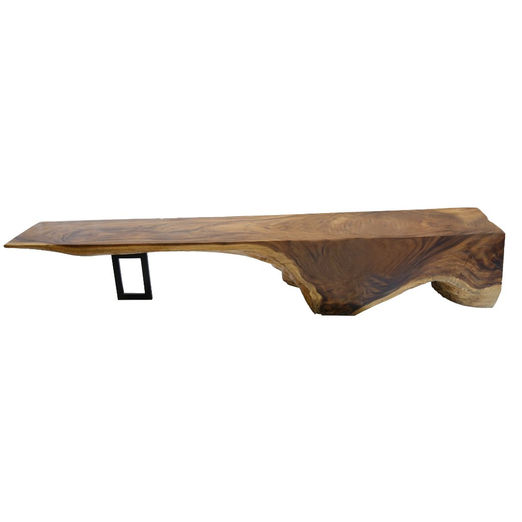Acacia Wood Bench with Metal Legs