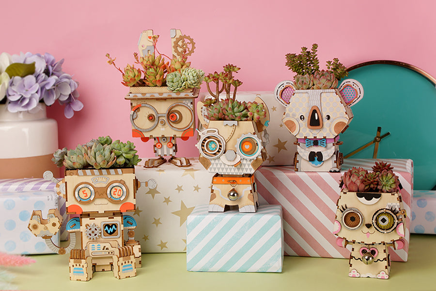 Cute Robot Flower Pot 3D Wooden Puzzle