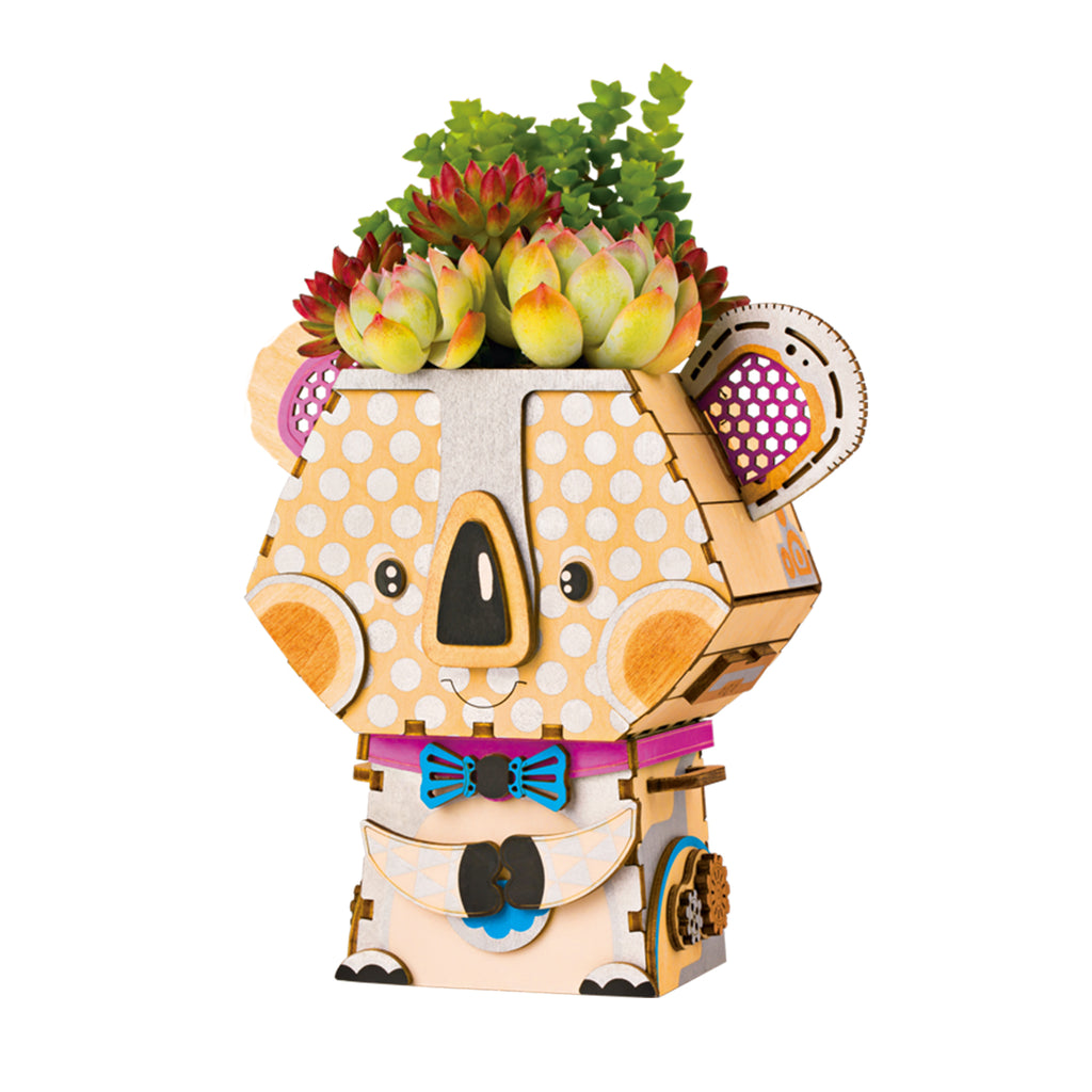 Koala Cute Robot Flower Pot 3D Wooden Puzzle