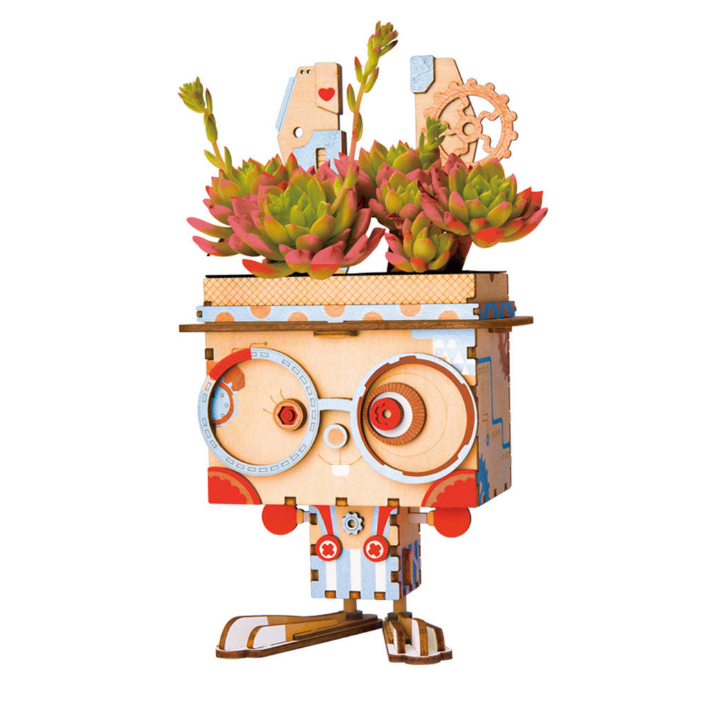 Bunny Cute Robot Flower Pot 3D Wooden Puzzle