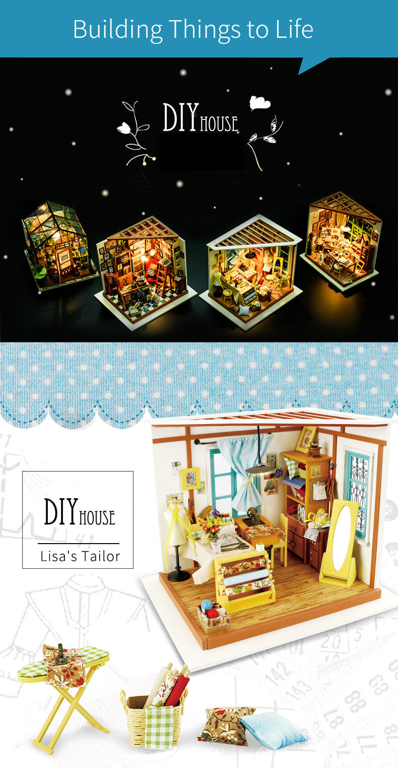 Cutebee Lisa's Tailor Robotime DIY Miniature Dollhouse Kit