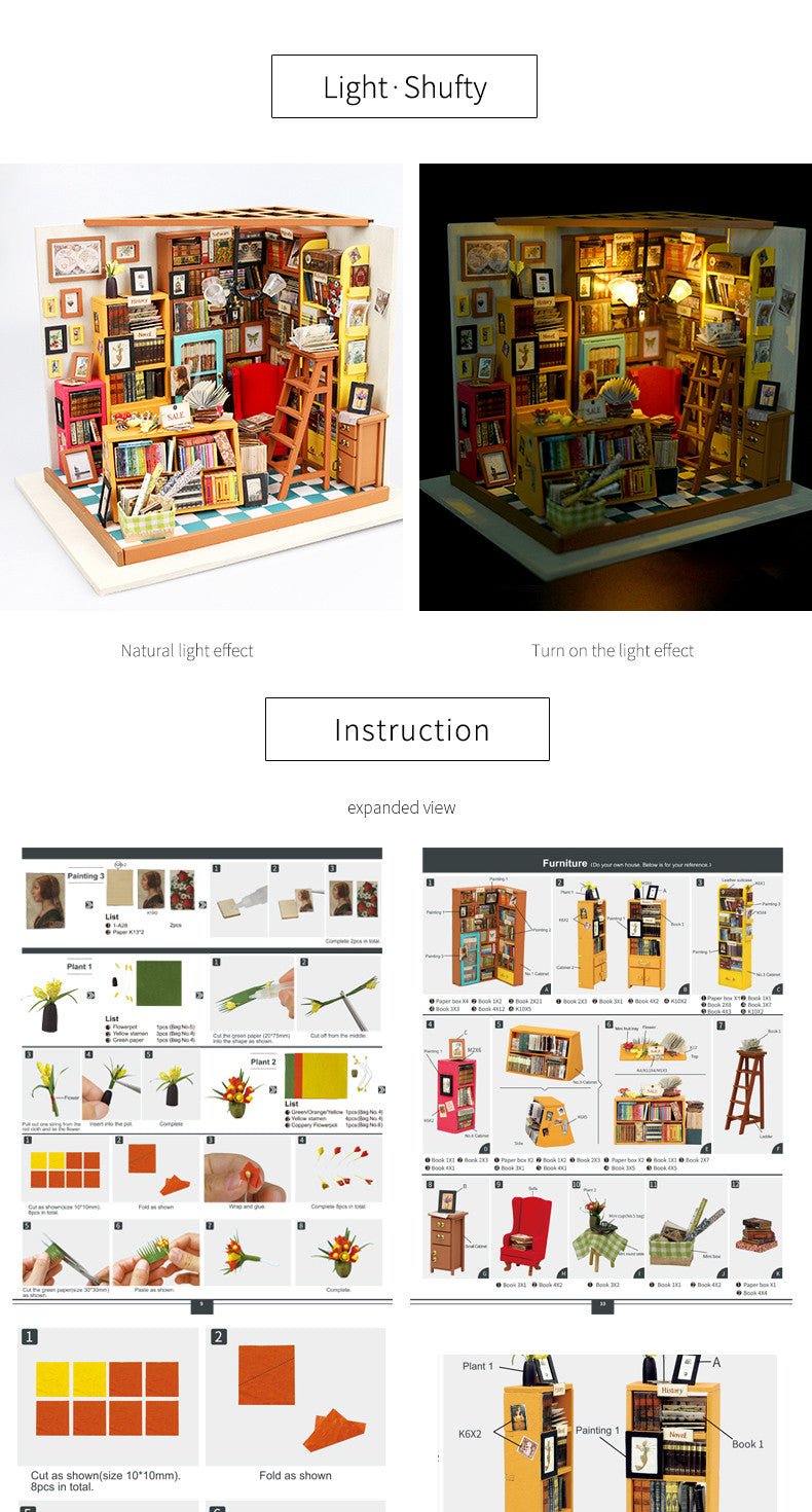 Cutebee Sam's Study Robotime DIY Miniature Dollhouse Kit