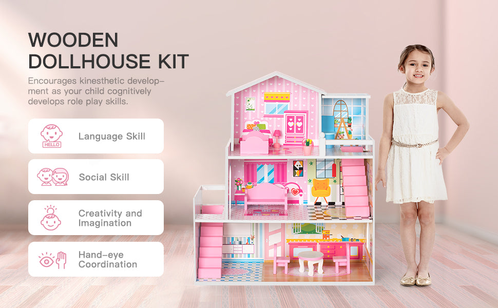 robotime kids dollhouse pretend playset