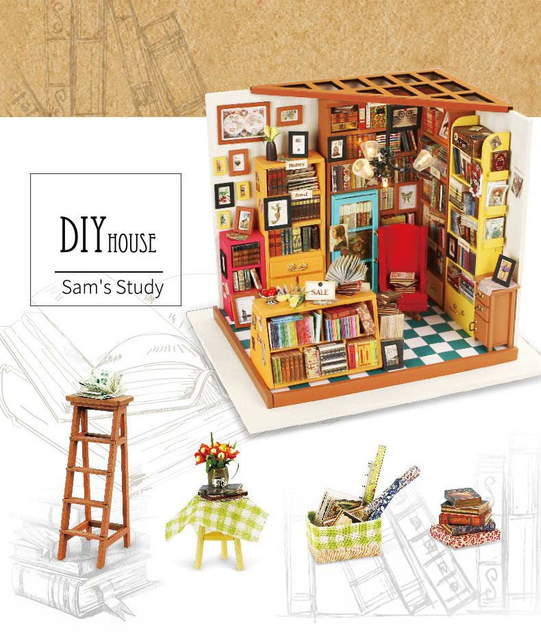 Robotime Sam's Study DG102 DIY miniature with accessories