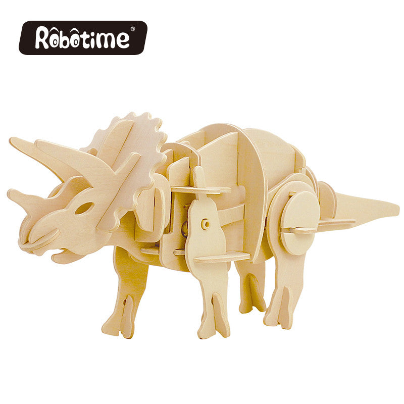 dinosaur park Robotime DIY 3D Wooden Puzzle Assembly Model Triceratops Creative Imagination