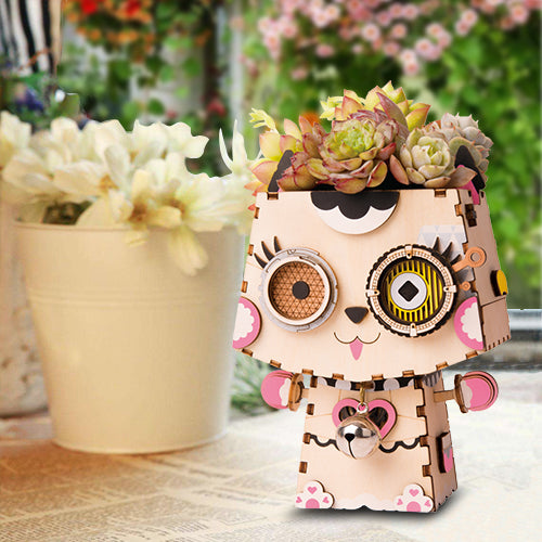 Kitty Cute Flower Pot 3D Wooden Puzzle