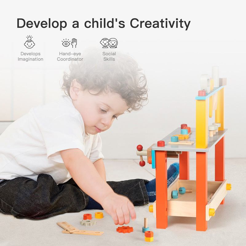 Kids playing with Robotime workbench playset