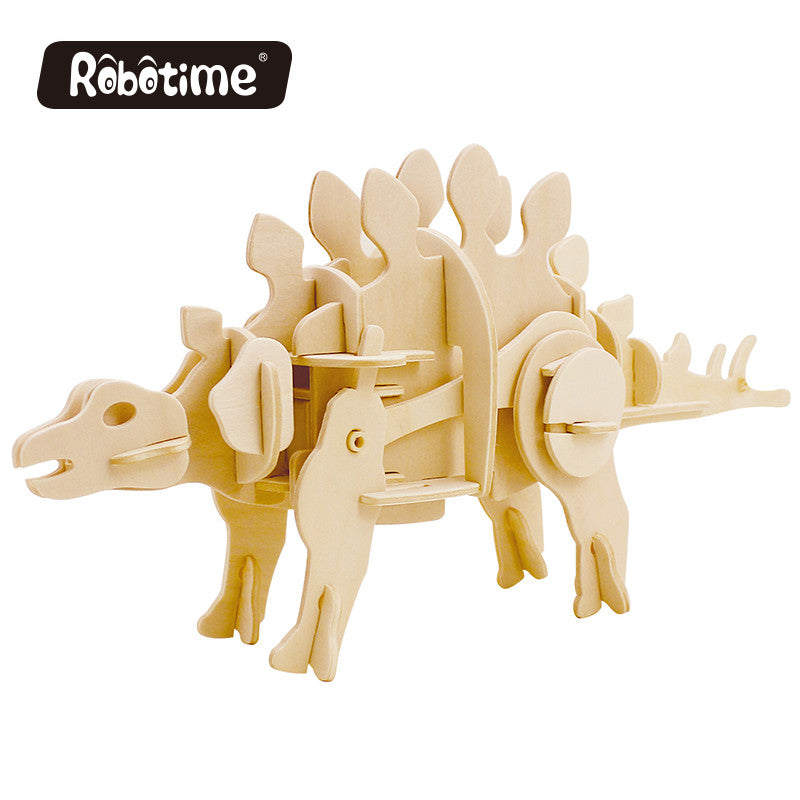 robot life size dinosaur Robotime DIY 3D Wooden Puzzle Electric Stegosaurus Can be Painted