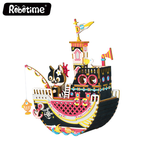 Robotime New Arrival Music box - Dream Series - Fishing Kitty AMD42