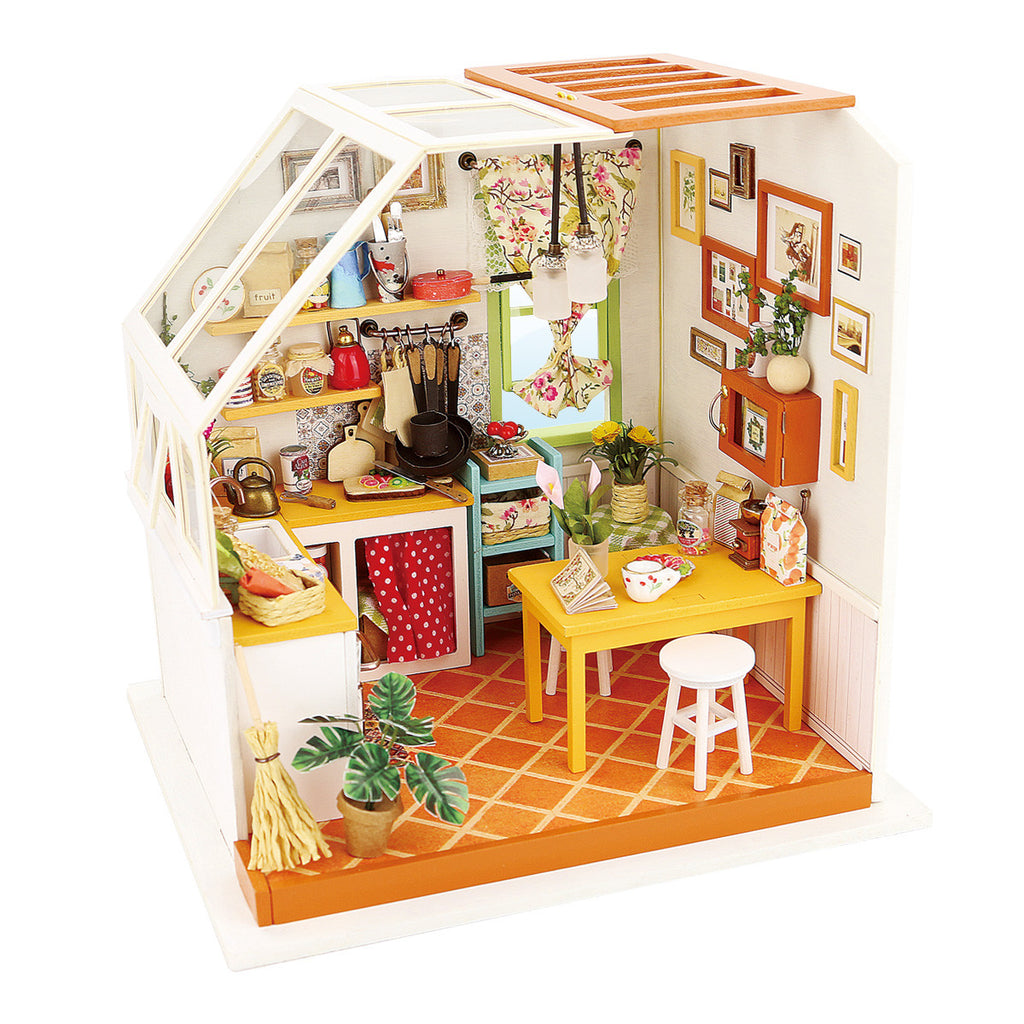 robotime diy miniature dollhouse kit dg105 jason 39 s kitchen with led light tools and english. Black Bedroom Furniture Sets. Home Design Ideas