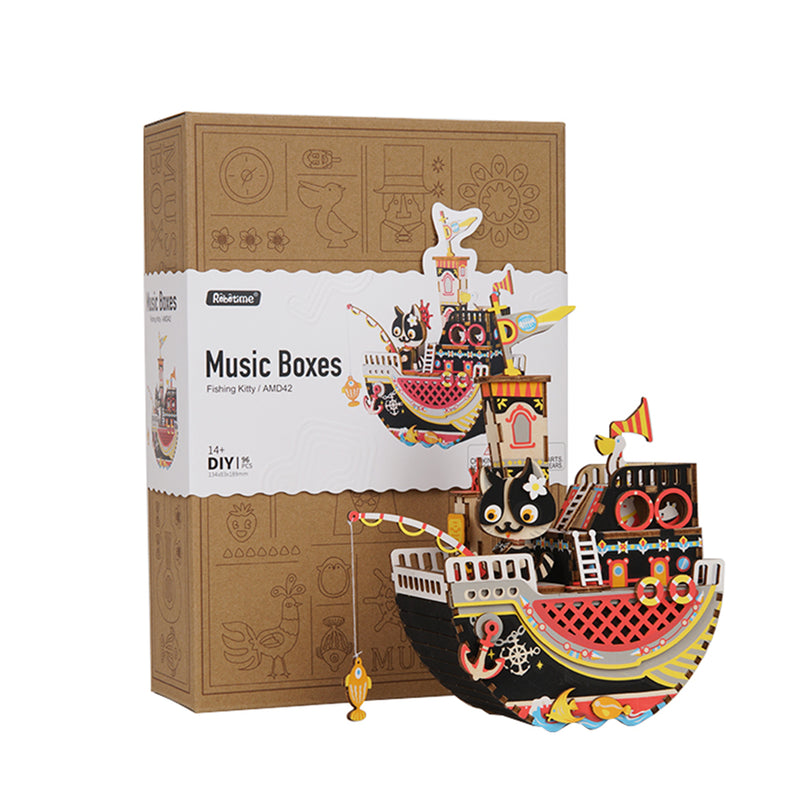 Robotime DIY Music box - Dream Series - Fishing Kitty AMD42