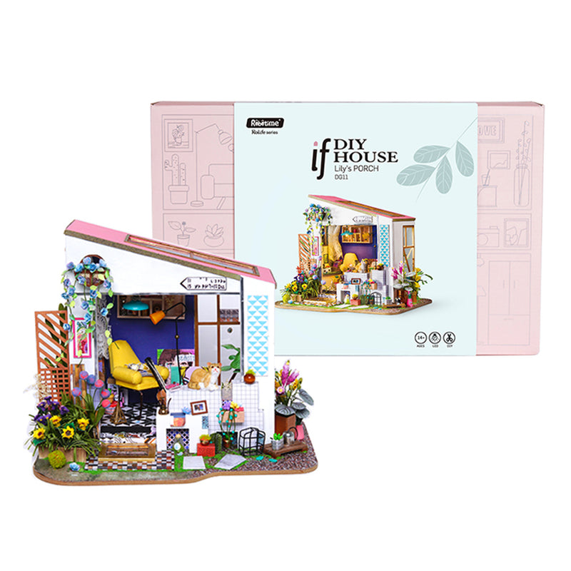 Lily's Porch DG11 DIY Miniature Dollhouse with Cat