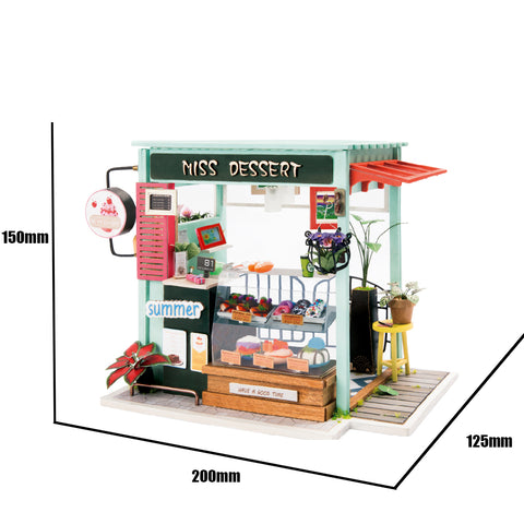 Robotime DIY Mini Dollhouse Building Model Home Decoration toys Ice Cream Station DGM06