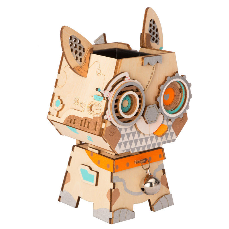 Cute Robot Flower Pot - 3D Wooden Puzzle - Building Kits Toy Puppy FT742