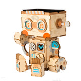 Cute Robot Flower Pot - 3D Wooden Puzzle - Building Kits Toy Robot FT761