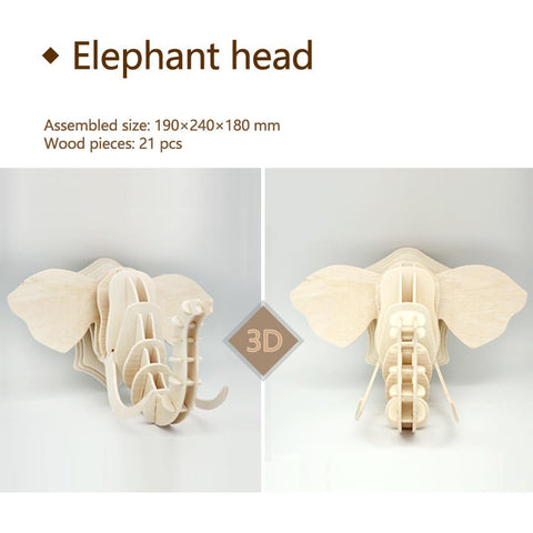 3D DIY Wooden Puzzle-Elephant Head