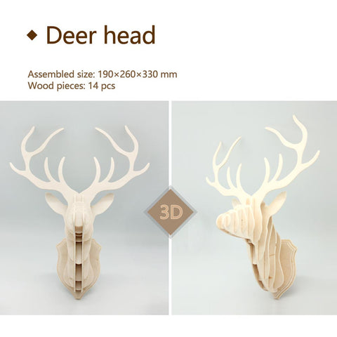 3D DIY Wooden Puzzle-Dear Head