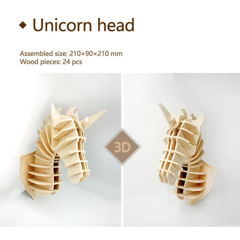 3D DIY Wooden Puzzle-Unicorn head