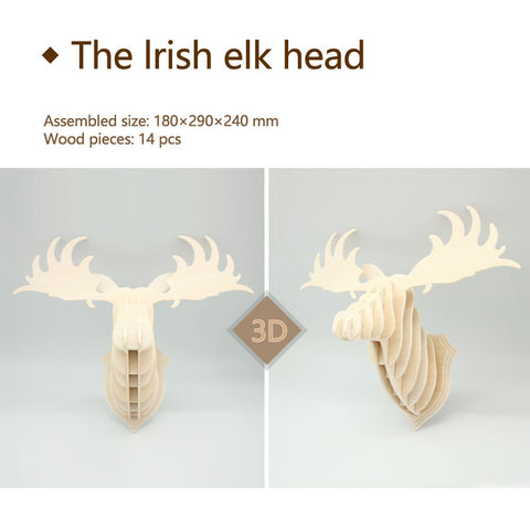 3D DIY Wooden Puzzle-The lrish elk head