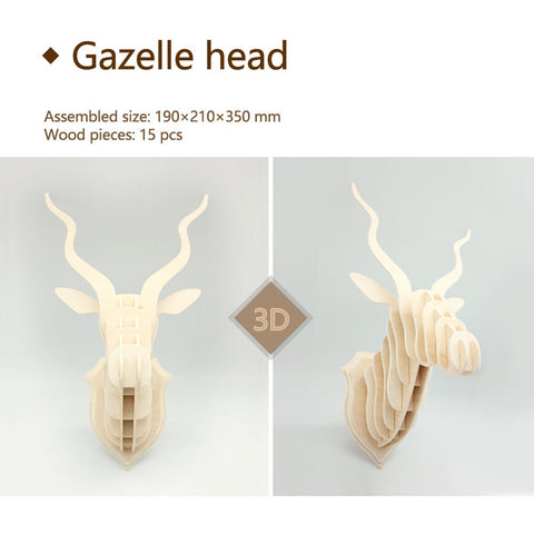 3D DIY Wooden Puzzle-Gazelle head