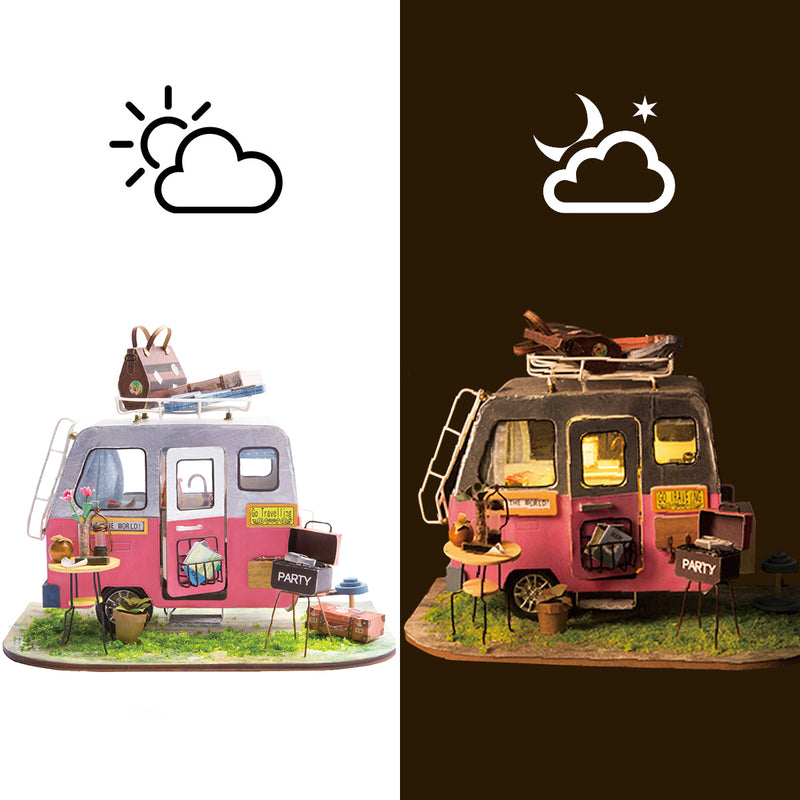 Happy Camper DGM04 DIY Miniature Camping Car Dollhouse Kit