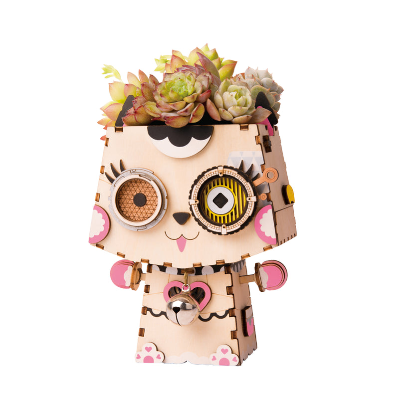 Kitty FT731 - Robotime DIY Wooden Flower Pot 3D Puzzle Kit