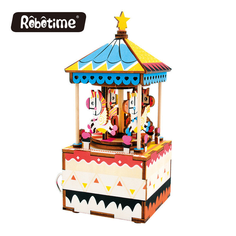 Robotime DIY Music Box-AM304-Merry-Go-Round