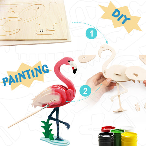3D painting puzzle-Flamingo