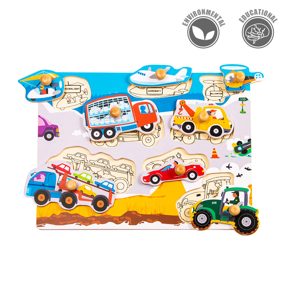 Peg Puzzle - Busy Transportations - HP001