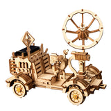 3D Wooden Puzzle Movement Assembled Solar Energy Powered Toys Space Hunting Moon Buggy - LS401