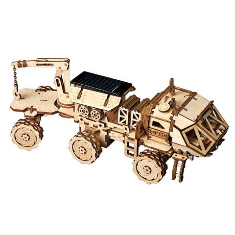 3D Wooden Puzzle Movement Assembled Solar Energy Powered Toys Space Hunting Hermes Rover - LS504