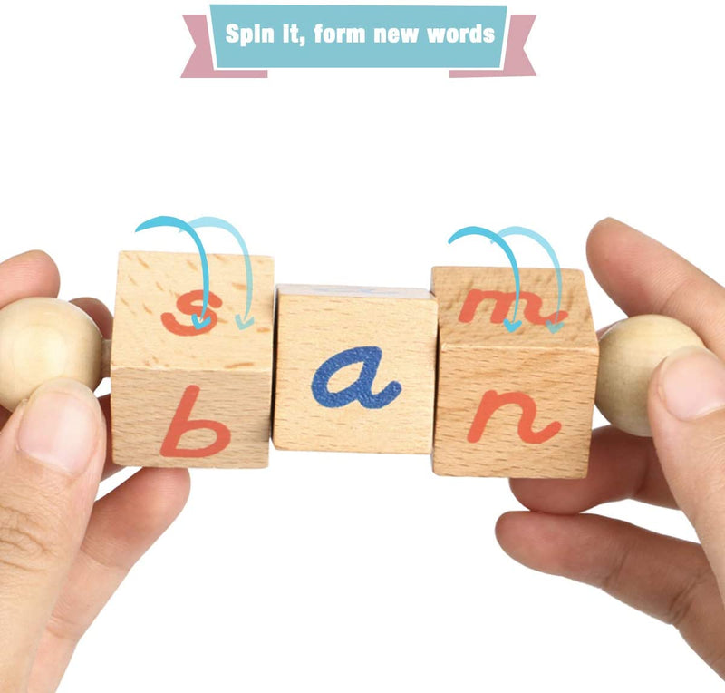 Wooden Alphabet Blocks Learning Toys for Toddler Kids