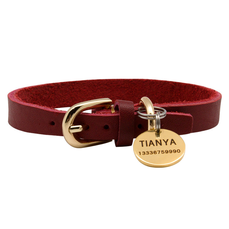 Full Grain Leather Pet Collar, Personalized Engraved Brass Name Tag