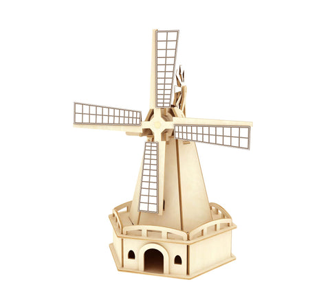 Solar Energy Drived - Natural Wooden Windmills - Large Windmill W140