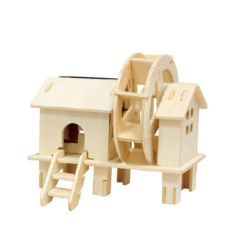 Solar Energy Drived - Natural Wooden Windmills - Waterwheel W150