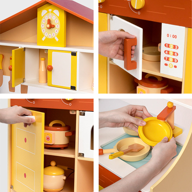Kids Modern Kitchen Playset (Yellow) - Large Wooden Cooking Toys for Kids