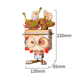 Cute Robot Flower Pot - 3D Wooden Puzzle - Building Kits Toy Bunny FT741