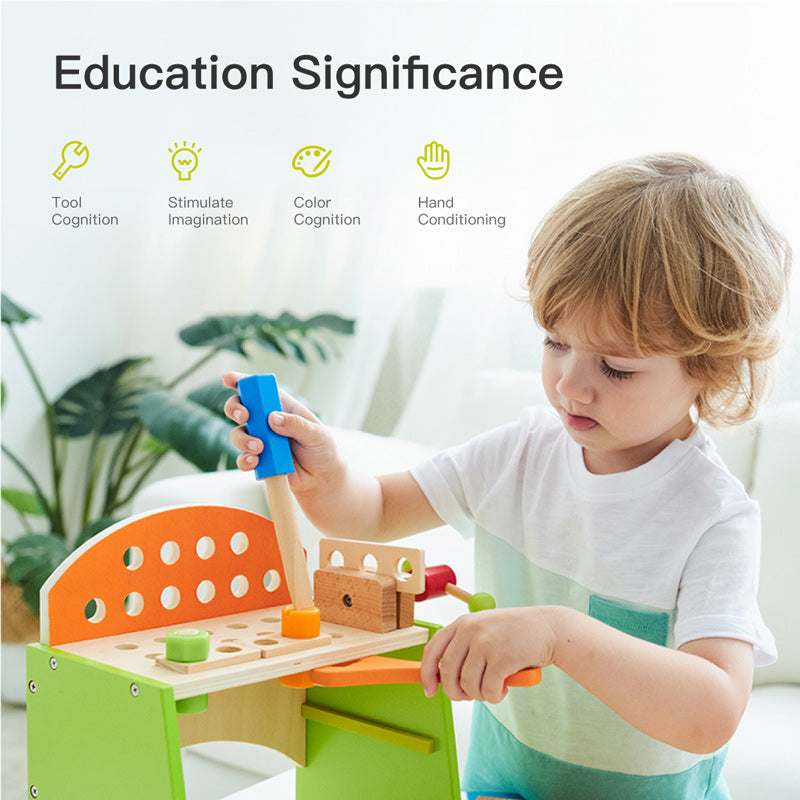 Kids Small Wooden Tool Bench Playset Fixing Tools Set Green