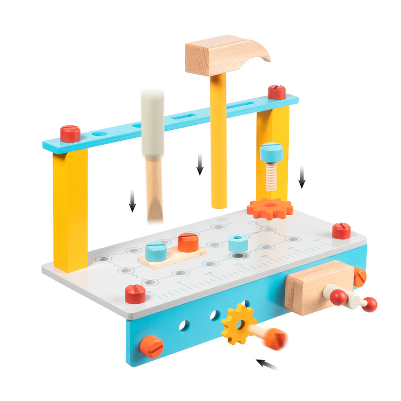 Toddler Tool Set Wooden Workbench Kit Orange