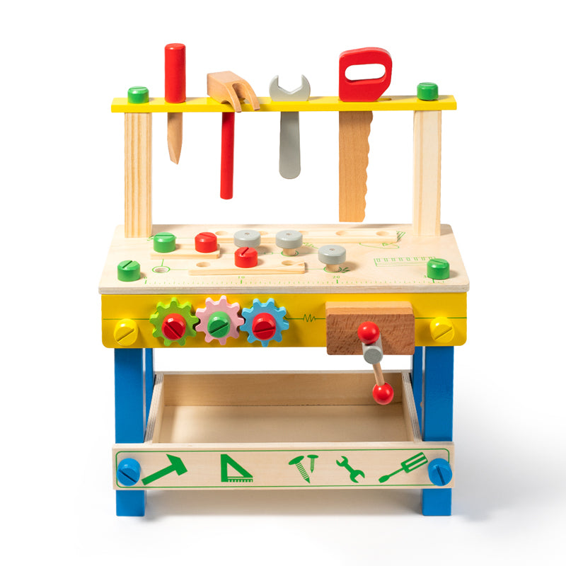 Kids Tool Set Wooden Workbench Kit Playset Blue
