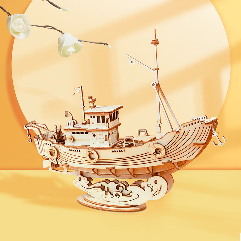 Fishing Ship TG308 3D Wooden Puzzle Decor