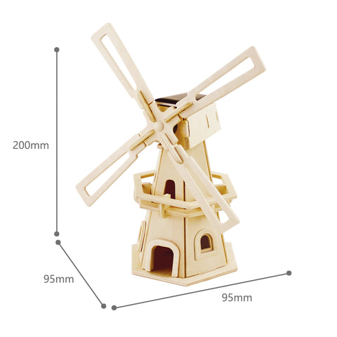 Solar Energy Drived - Natural Wooden Windmills - Windmill-1 W110