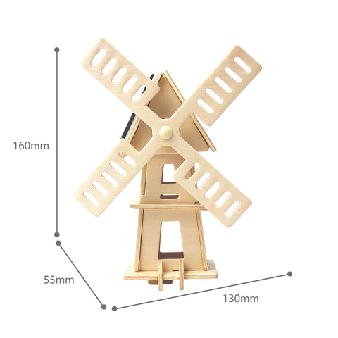 Solar Energy Drived - Natural Wooden Windmills - Windmill-2 W120