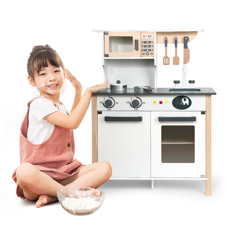 Kids Modern Kitchen Playset (White) - Large Wooden Cookware Toys for Kids