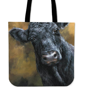 Tote Bag - black cow painting style sk02