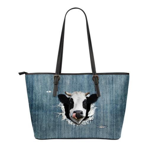 3d cow - jean - Small Leather Tote