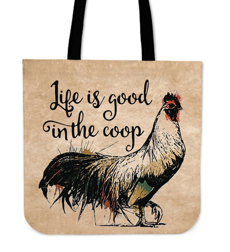 Life is good in the coop tote bag