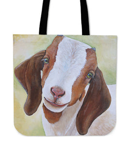 cute goat painting  - tote bag - Barnsmile.com-Barnsmile.com-shirt, tees, clothings, accessories, shoes, home decor